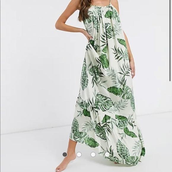 ASOS Oversized Maxi Dress w Palm Detail, Size 12